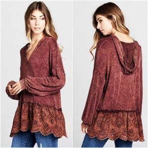 NWT - Super Soft Rust Color Hoodie Lace Hem